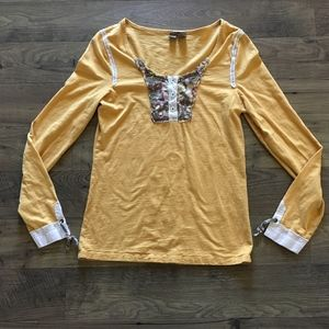 BKE Marigold Yellow Floral Patchwork Top Blouse XL
